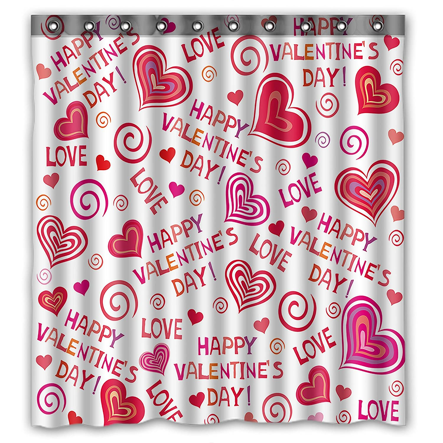 Amazon KXMDXA Lovely Hearts HAPPY VALENTINES DAY Shower Curtain 66x72 Inches 100 Waterproof Polyester Fabric Bathroom Home Kitchen