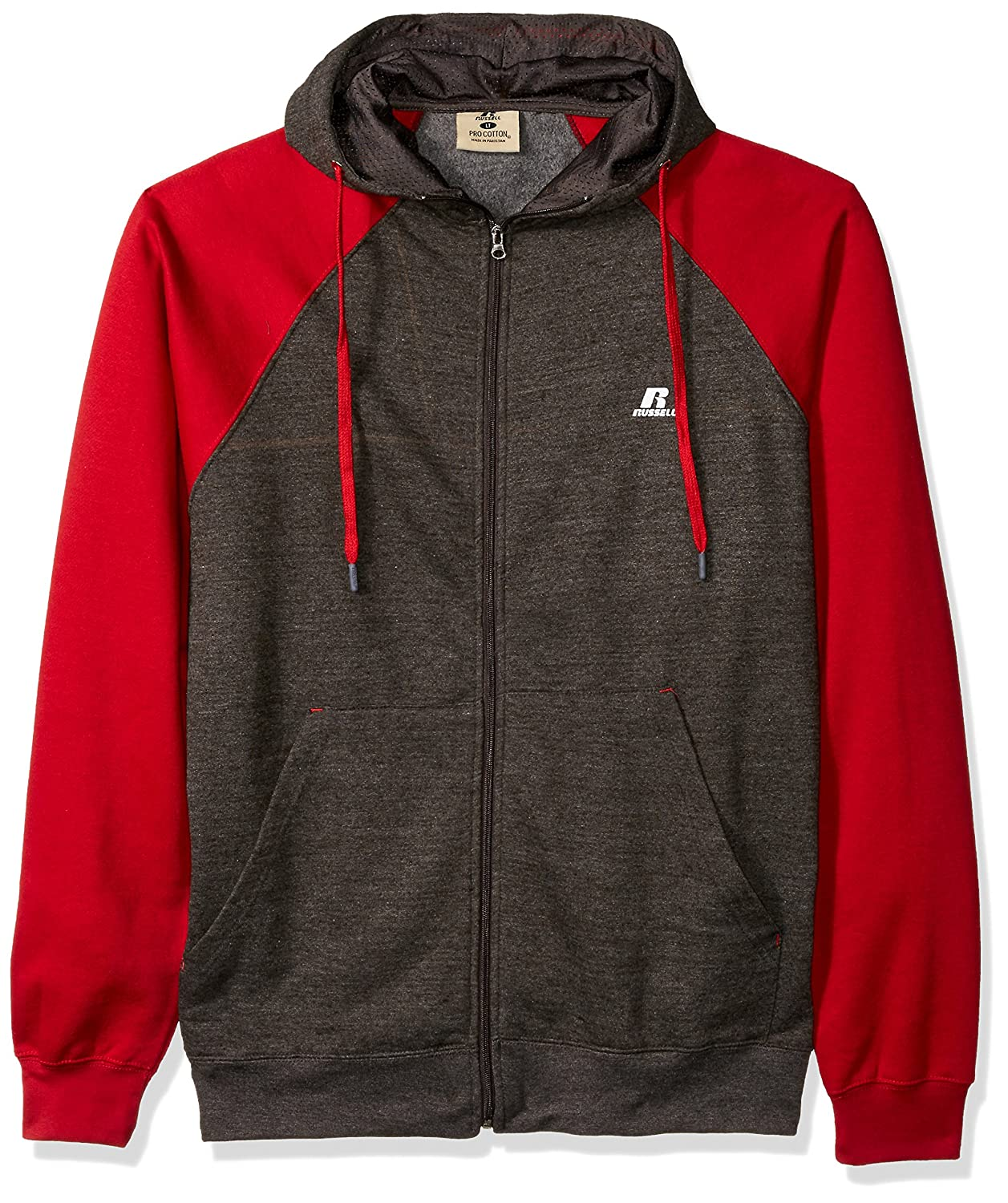 Russell Athletic Men's Big and Tall Full Zip Raglan Hood with Drawstring RUSS4820AM