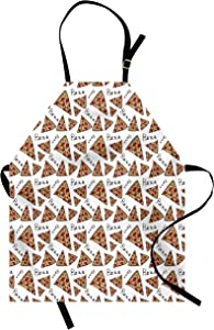 Ambesonne Pizza Apron, Pattern in Hand Drawn Doodle Style Pizzeria Menu Fast Food Delicious Gourmet Eating, Unisex Kitchen Bib with Adjustable Neck for Cooking Gardening, Adult Size, Beige Black