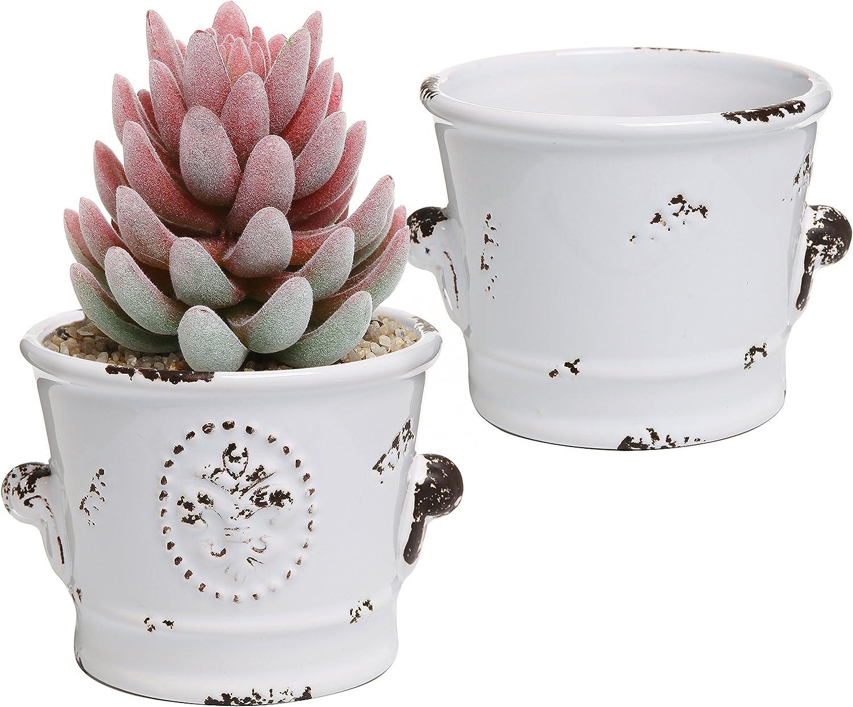 MyGift Rustic White Ceramic 4-Inch Succulent Planter Pots, Set of 2