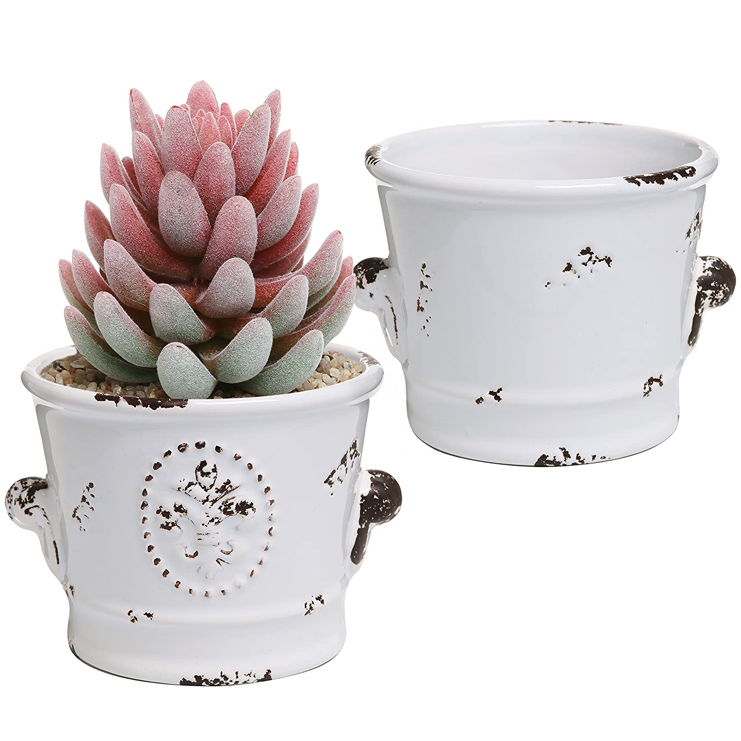 MyGift Rustic White Ceramic 4-Inch Succulent Planter Pots, Set of 2