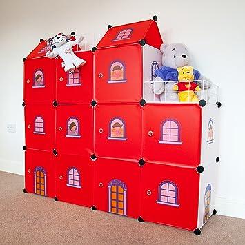 BONUS ET SALVUS TIBI (BEST) Red Castle Cubes – Cubos de niños Armario Almacenamiento