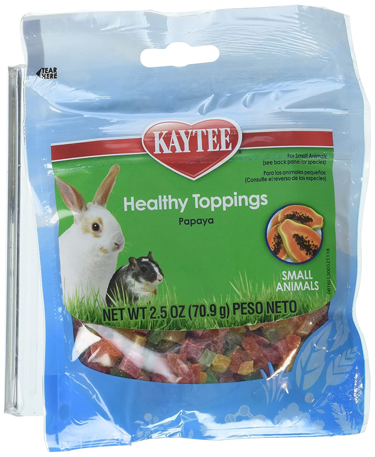 Kaytee Fiesta Healthy Toppings Papaya Treat for Small Animals, 2.5-oz bag 100503009