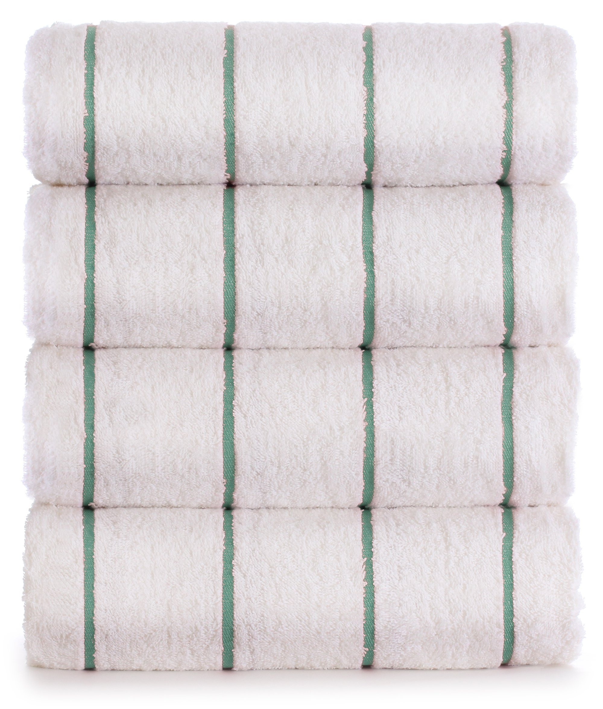 Premium Quality Extra Large Hotel and Spa 4-Piece Beach Towels, Pool Towels with Stripe, Eco-friendly, Turkish Cotton (Sea Green, 35x65 inches)