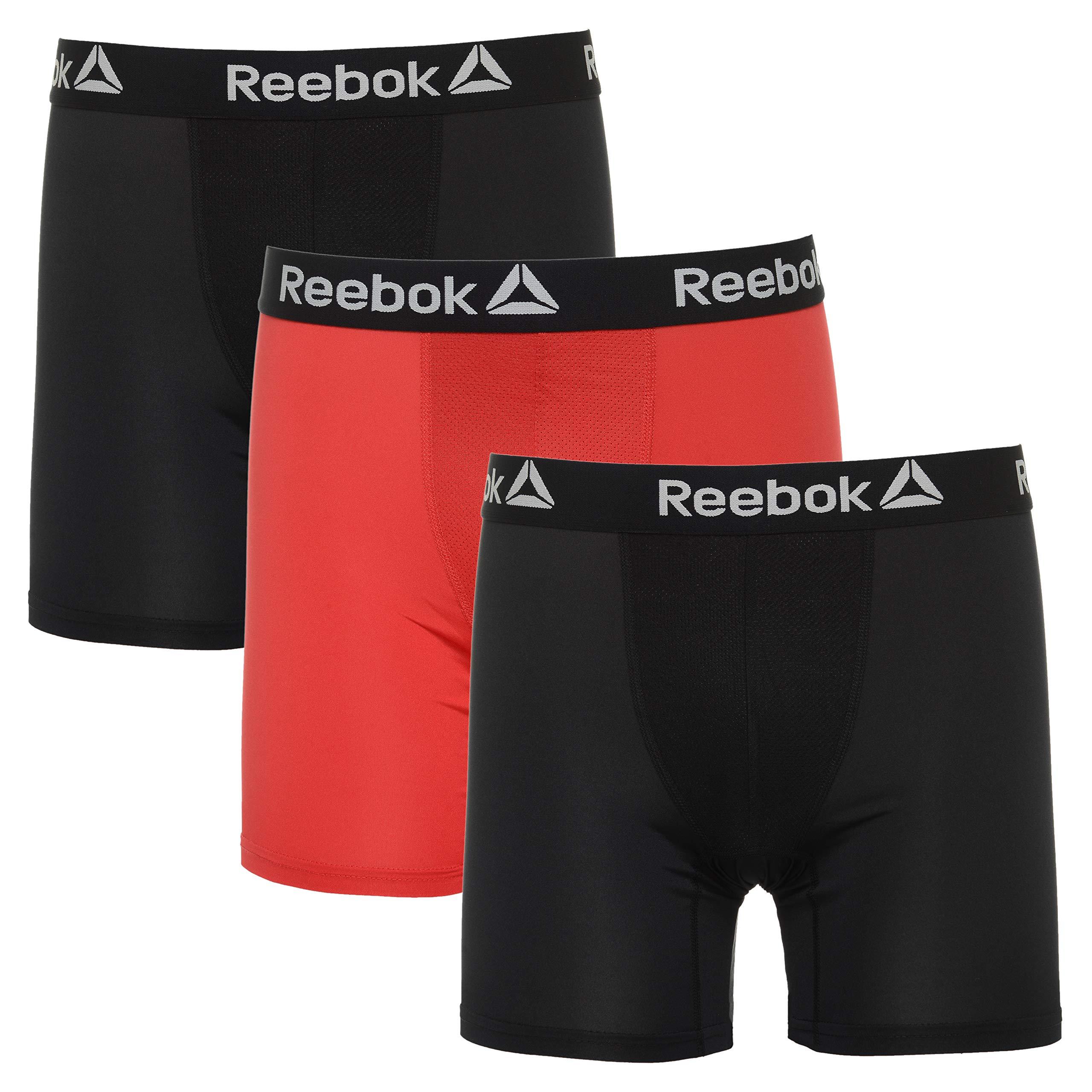 0df707c133 Galleon - Reebok Mens 3 Pack Performance Boxer Briefs Black/Excellent Red/ Black Large