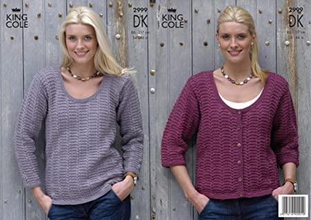 a8d463ed29a587 King Cole Ladies Cardigan   Top DK Knitting Pattern 2999  Amazon.co.uk   Kitchen   Home