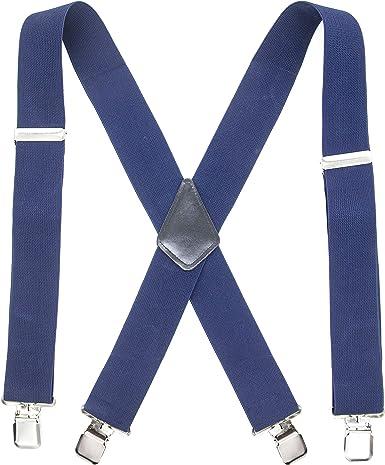 TB1 Tirantes para hombre Tirantes resistentes de 50 mm de ancho para hombres 4 clips X-Back Tirantes para hombre ajustables y elásticos con clip de metal fuerte (1 año de garantía) (Azul