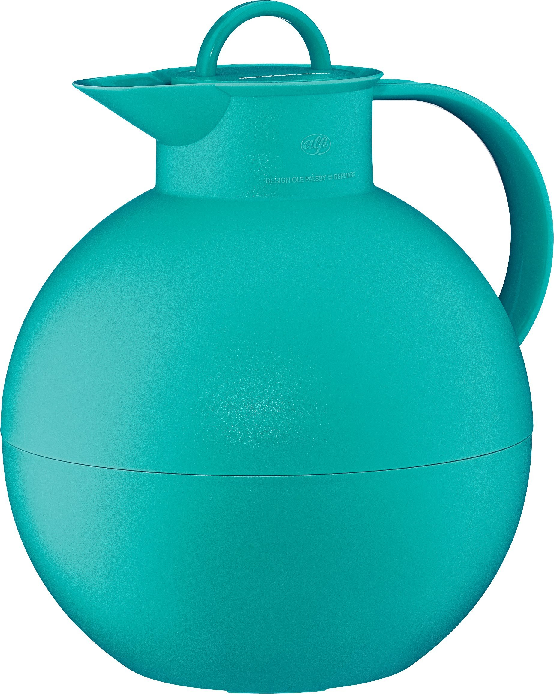 alfi Kugel Glass Vacuum Frosted Plastic Thermal Carafe for Hot and Cold Beverages, 0.94 L, Teal