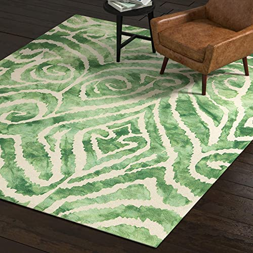 Rivet Modern Geometric Area Rug, 8 x 10, Green