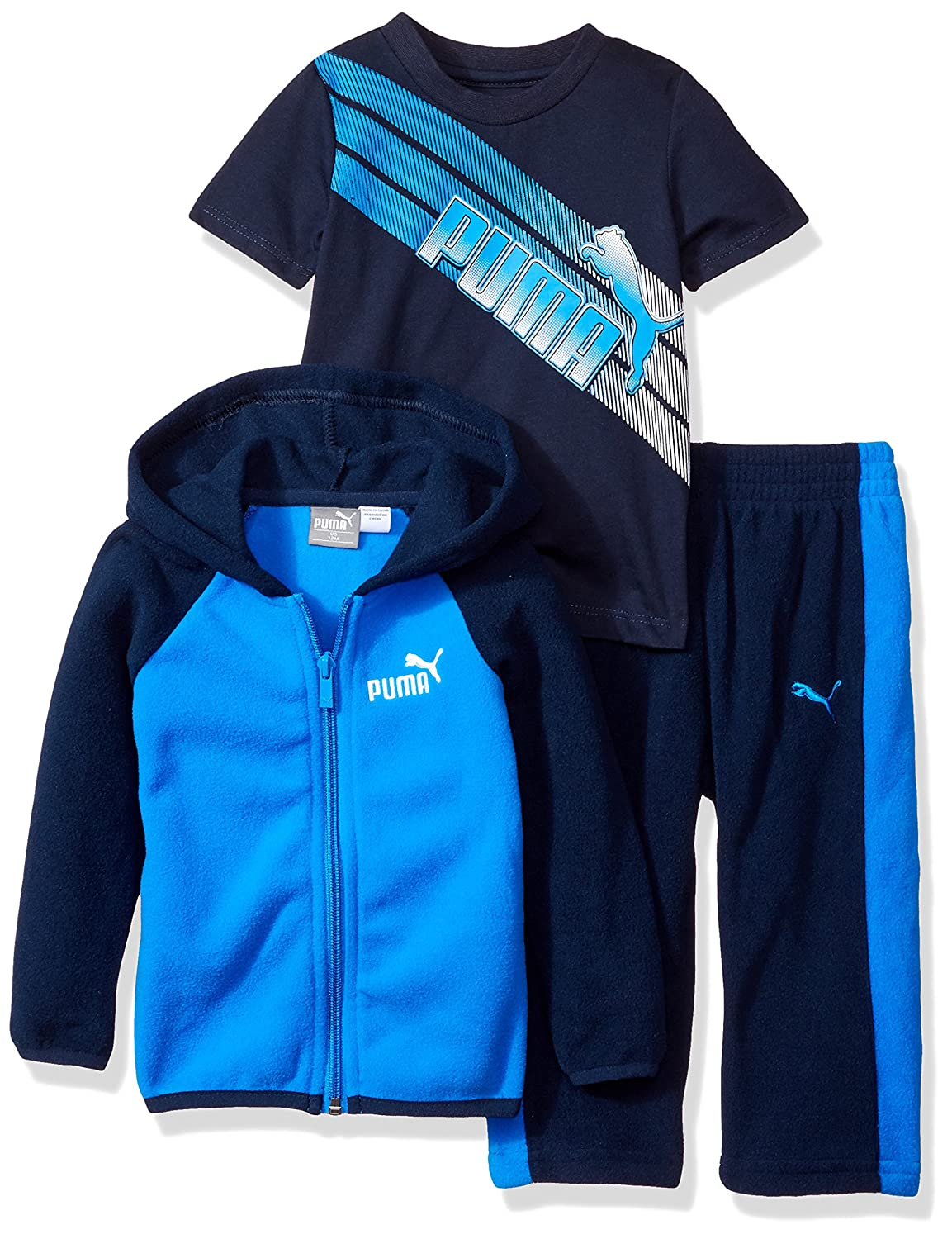 PUMA Boys Little Boys Boys' Three Piece Hoodie and Tee Set Smoke Grey 6 71175393FAZ-P030