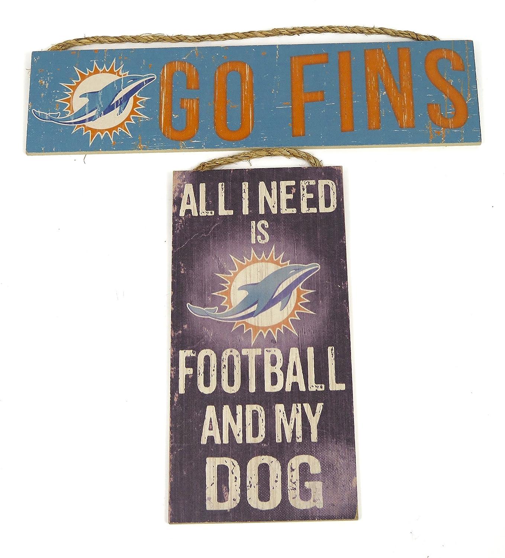 スポーツファンSigns Miami Dolphins , Dolphins Goフィンand all need is Dolphinsフットボールと私の犬2つSign Set。 B07BQGG5H5 13276