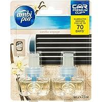 Ambi Pur Premium Clip Car Air Freshener Vanilla Voyage Refill 2 x 7.5ml