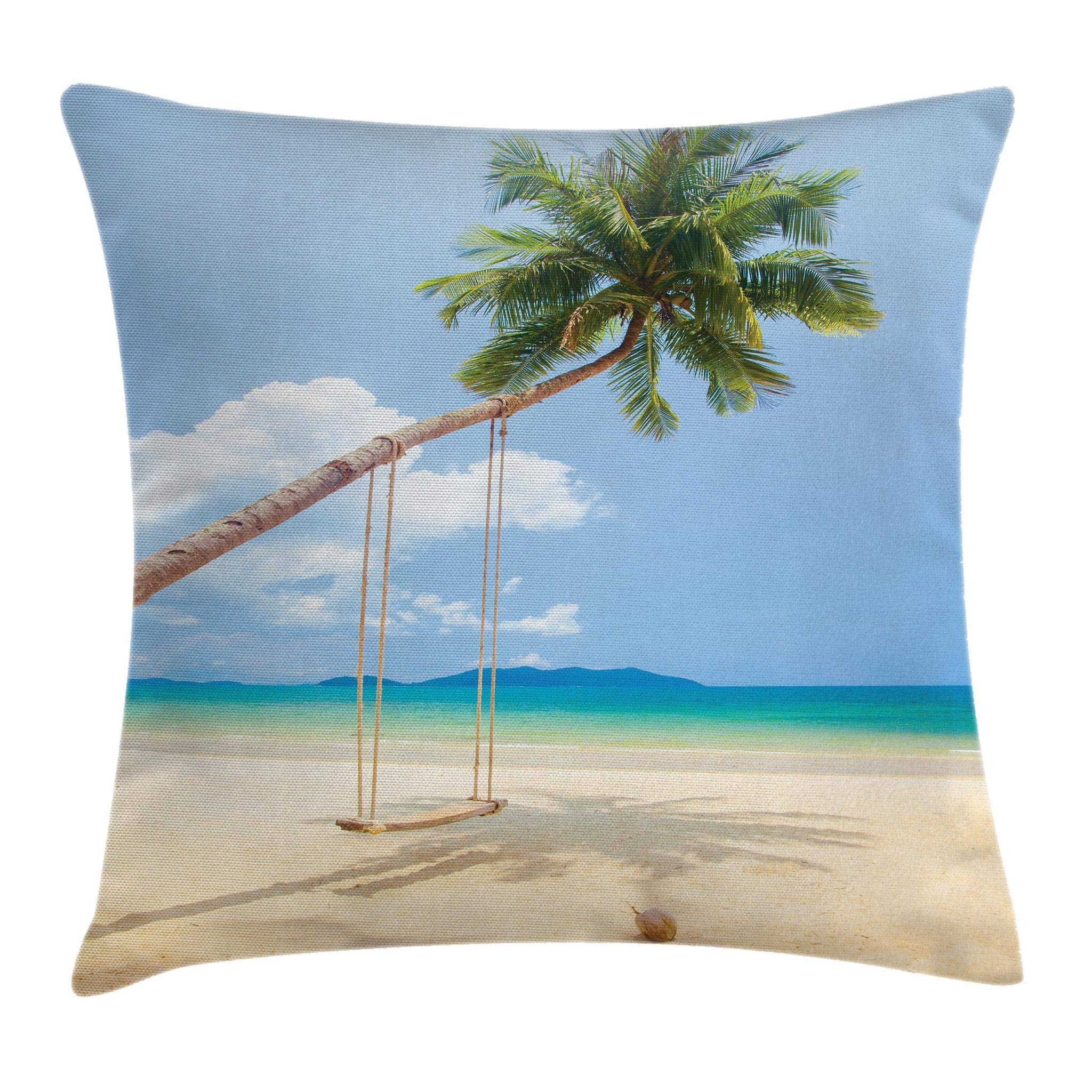 Ambesonne Ocean Throw Pillow Cushion Cover, Photo of a Tropical Island with Coconuts Palm Trees and Swing Beach Exotic, Decorative Square Accent Pillow Case, 16'' X 16'', Cream Blue Green