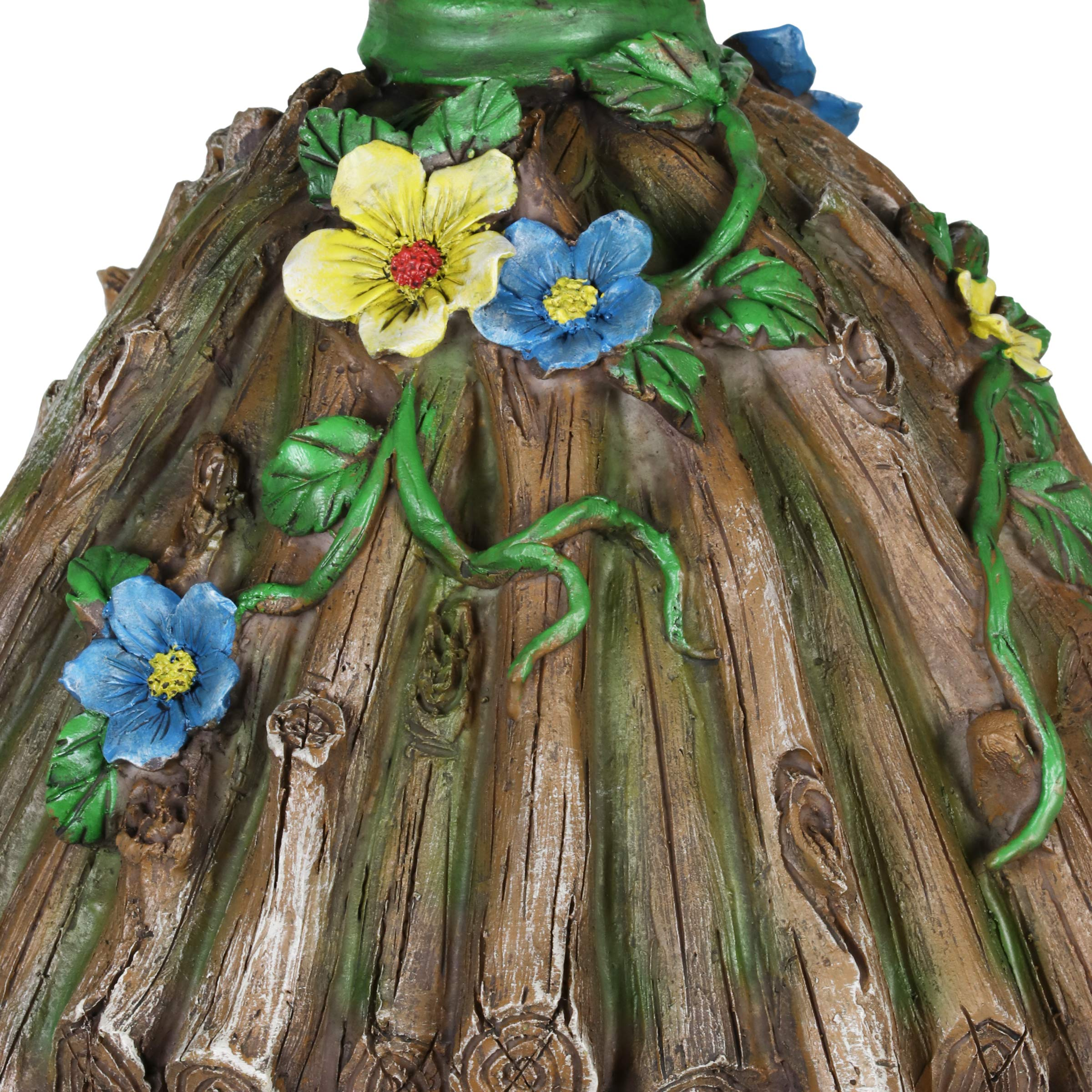 Exhart Twigs Roof Fairy House Outdoor Decor - Fairy Cottage Resin Statue with Solar Garden Lights, Miniature Fairy Hut Solar Home Decor for a Magical Fairy Garden, 9'' L x 9'' W x 15'' H by Exhart (Image #5)