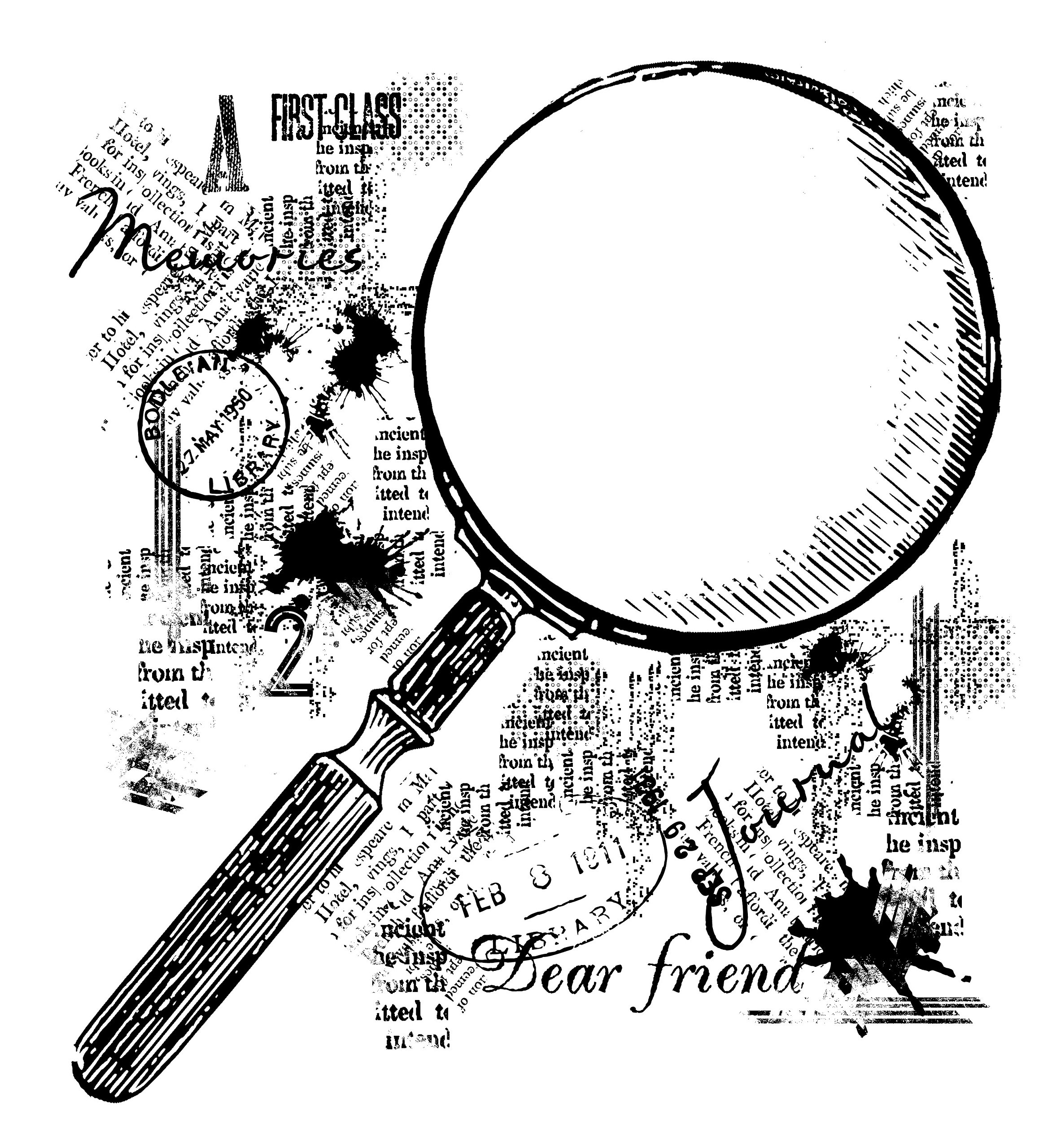 Woodware 4 x 4 Clear Cling Stamps - FRS052 Magnifying Glass by WoodWare
