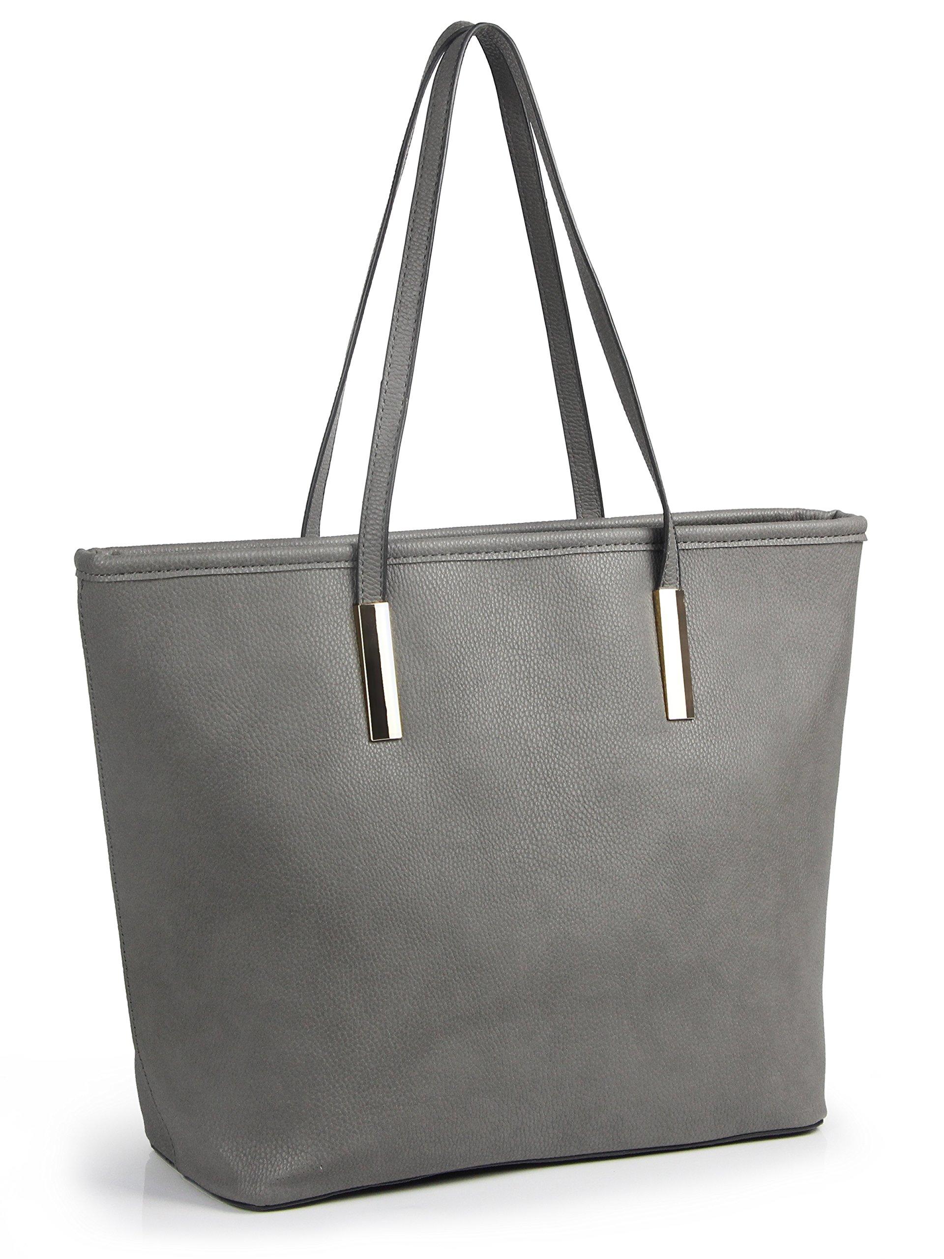 Simple Solid Color Pu Leather Top Handle Satchel Handbags for Women Shoulder Bags (Grey)