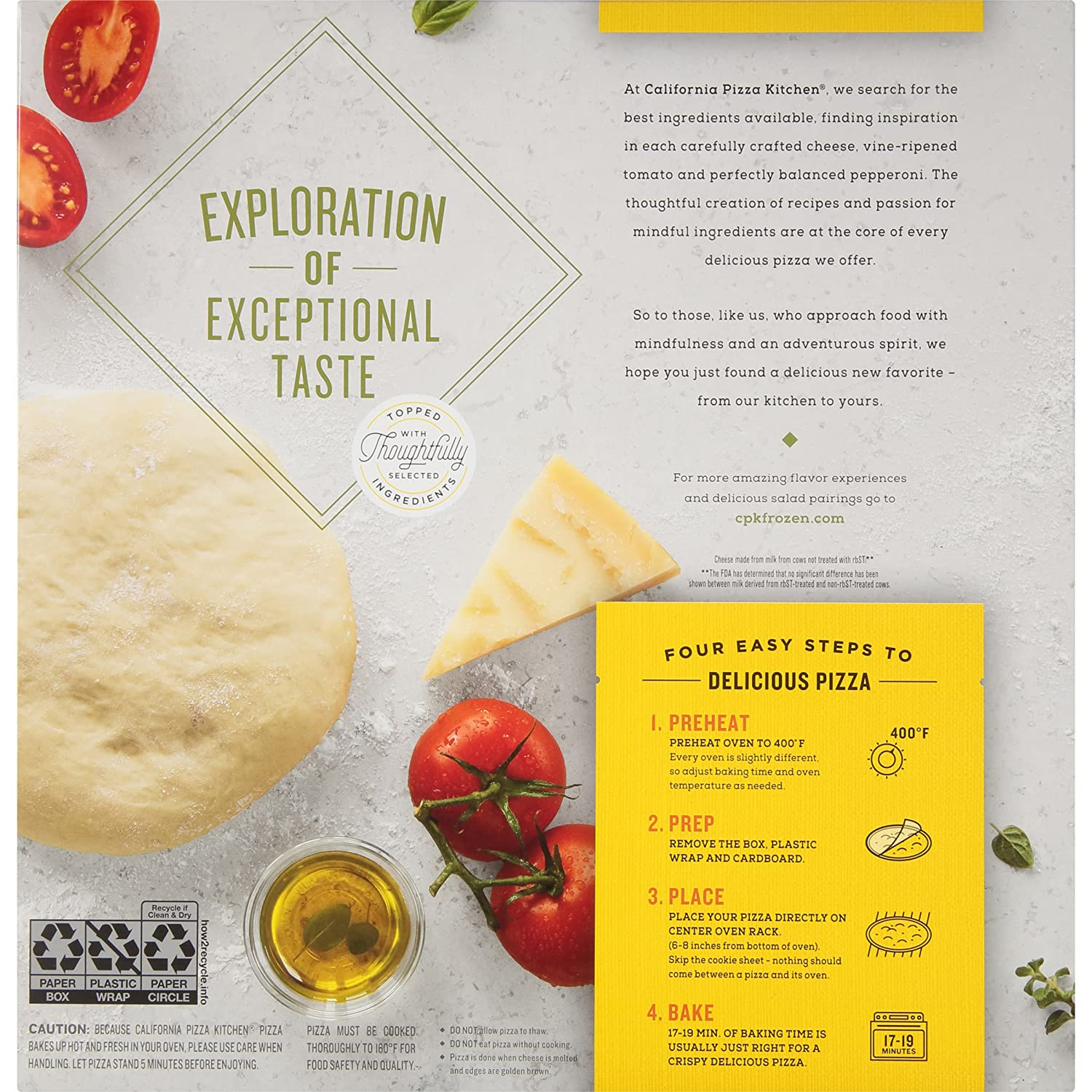 California Pizza Kitchen Five Cheese and Tomato Made with Organic ...