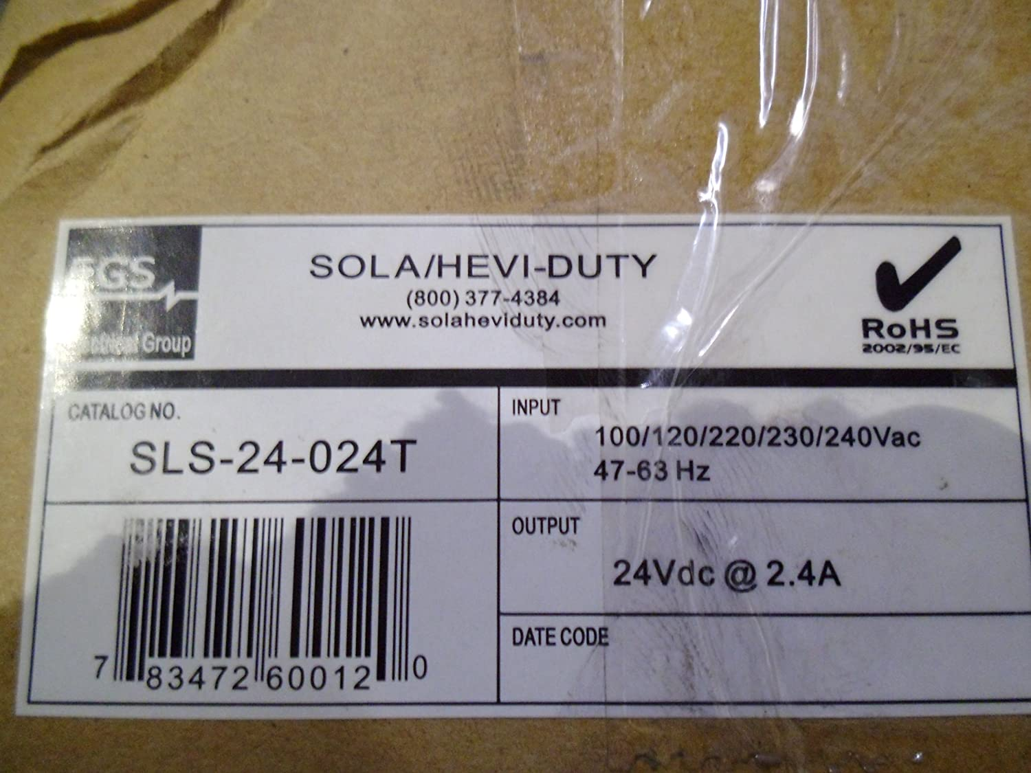 Sola Electric SLS-24-024T Power Supply 100//120//220//230//240VAC 47-63Hz