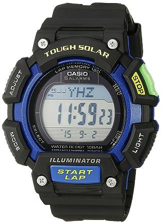 cfcdcd37484a Amazon.com  Casio Men s STL-S110H-1BCF Tough Solar Runner Digital Black and  Blue Watch  Watches