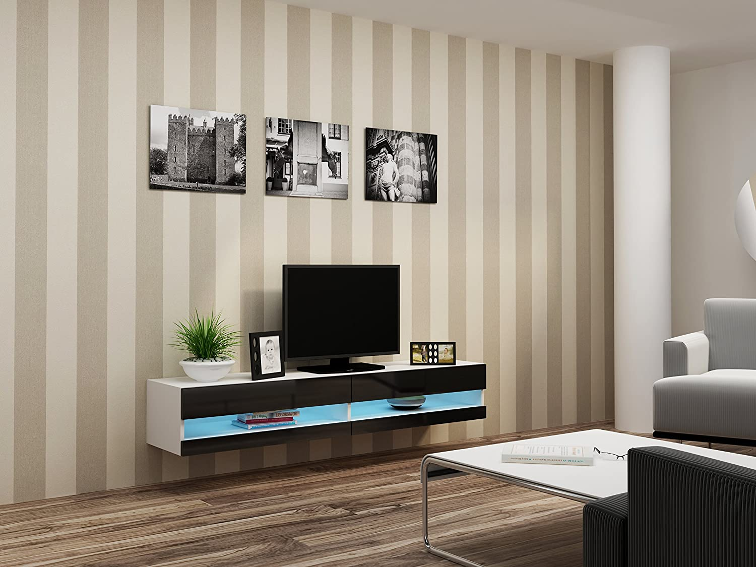 Wall Mounted Cabinets For Living Room High Gloss Living Room Set With Led Lights Tv Stand Wall
