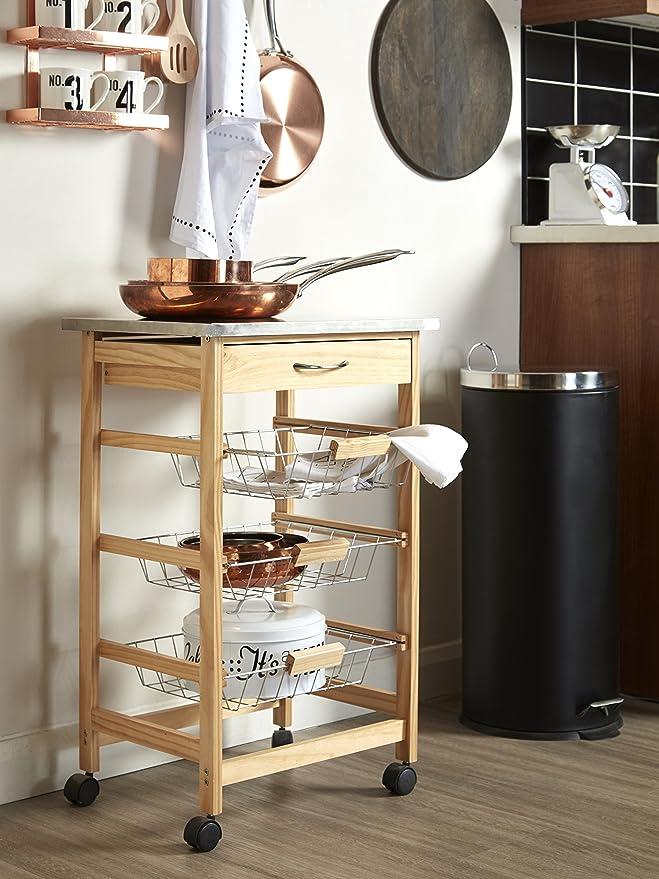 Premier Housewares - Carrito de cocina (madera de pino, parte superior de acero inoxidable): Amazon.es: Hogar