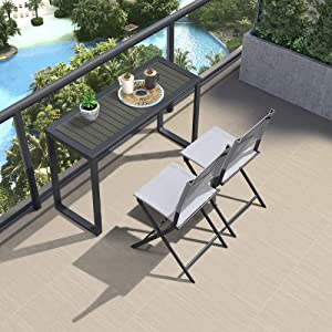 PURPLE LEAF Patio Furniture Sets, 3 Piece Dining Table Set Outdoor Tables Outdoor Chairs, Patio Console Table and 2 Folding Chairs, Black/White