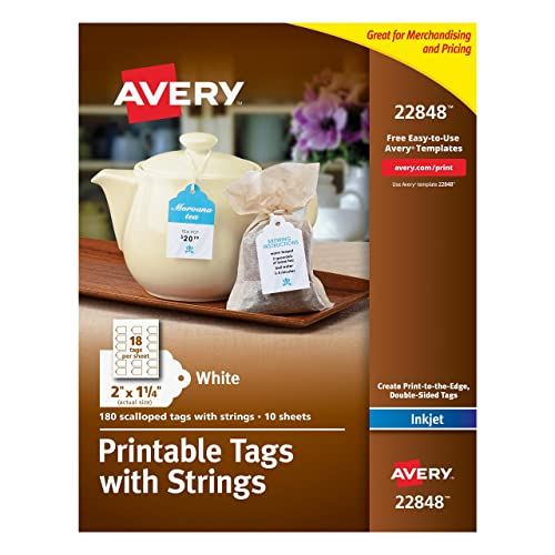 avery printable tags with strings scallop 2 x 125 inches pack of 180