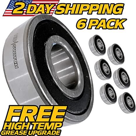 (6 Pack) MTD Spindle Bearings 129895, 05412300, 741-0919, 941-0919,  55541MA, 6204-2RS