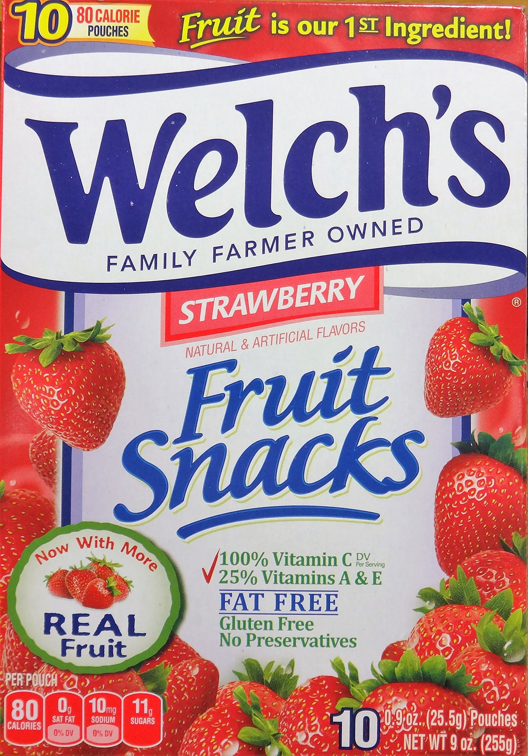 Welch's Strawberry Flavor Fruit Snacks, 10 Pouches (2 packs)