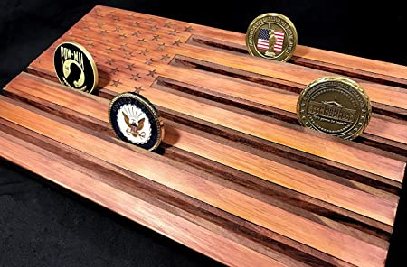 LOKI ENGRAVING Red American Flag Challenge Coin Display