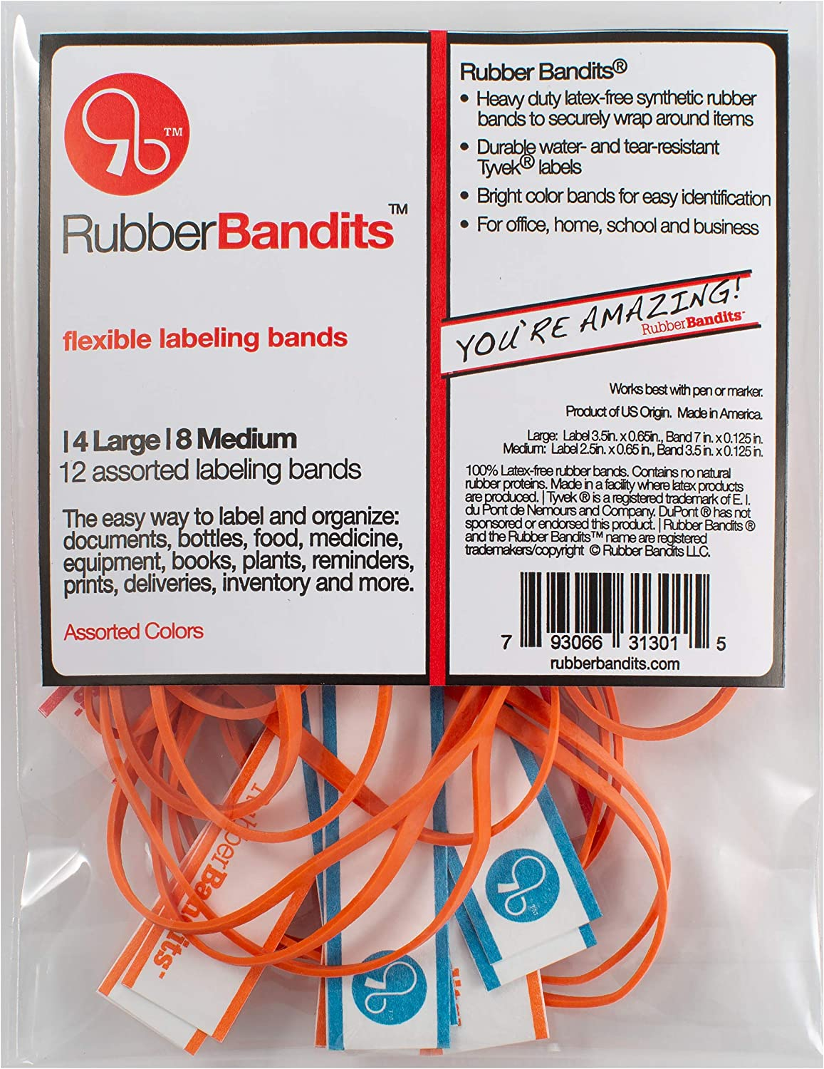 RUBBER BANDITS - Flexible Labeling Bands for Office, Home, School | Made with Write-On Tear Resistant TYVEK Tags and Bright Color Non-Latex Rubber Bands | 1-Pack