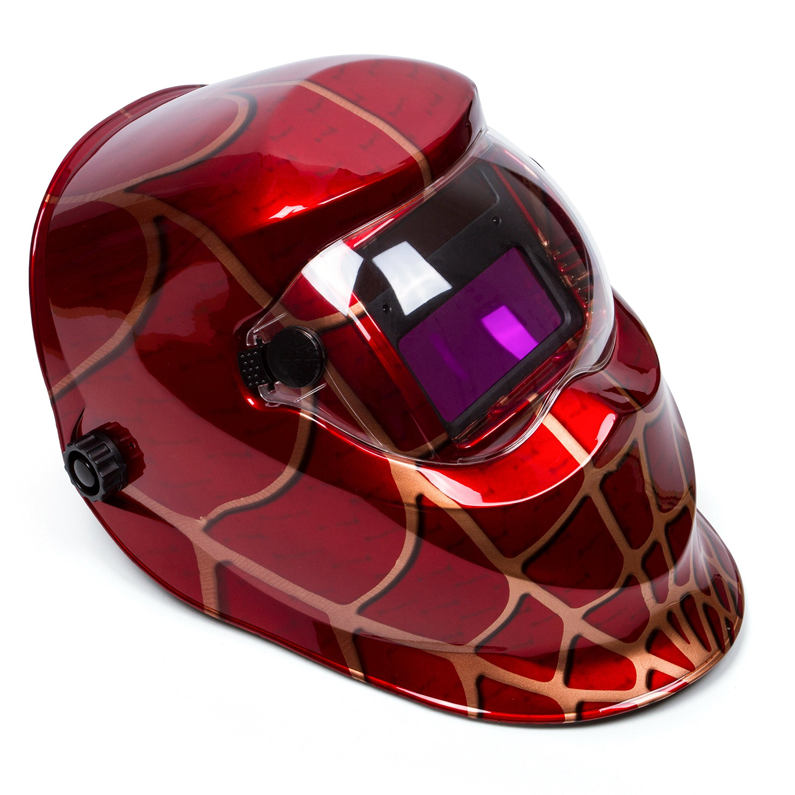 Holulo Welding Helmet Solar Power Auto Darkening Wide Viewing Field Professional Hood for MIG TIG ARC Cap Mask (Red spider)