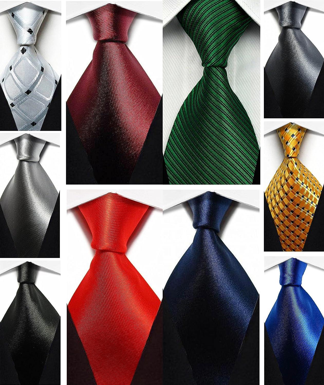 Wehug Lot 10 PCS Men's Ties 100% Silk Tie Woven Jacquard Neckties Classic Ties lot10-tie001
