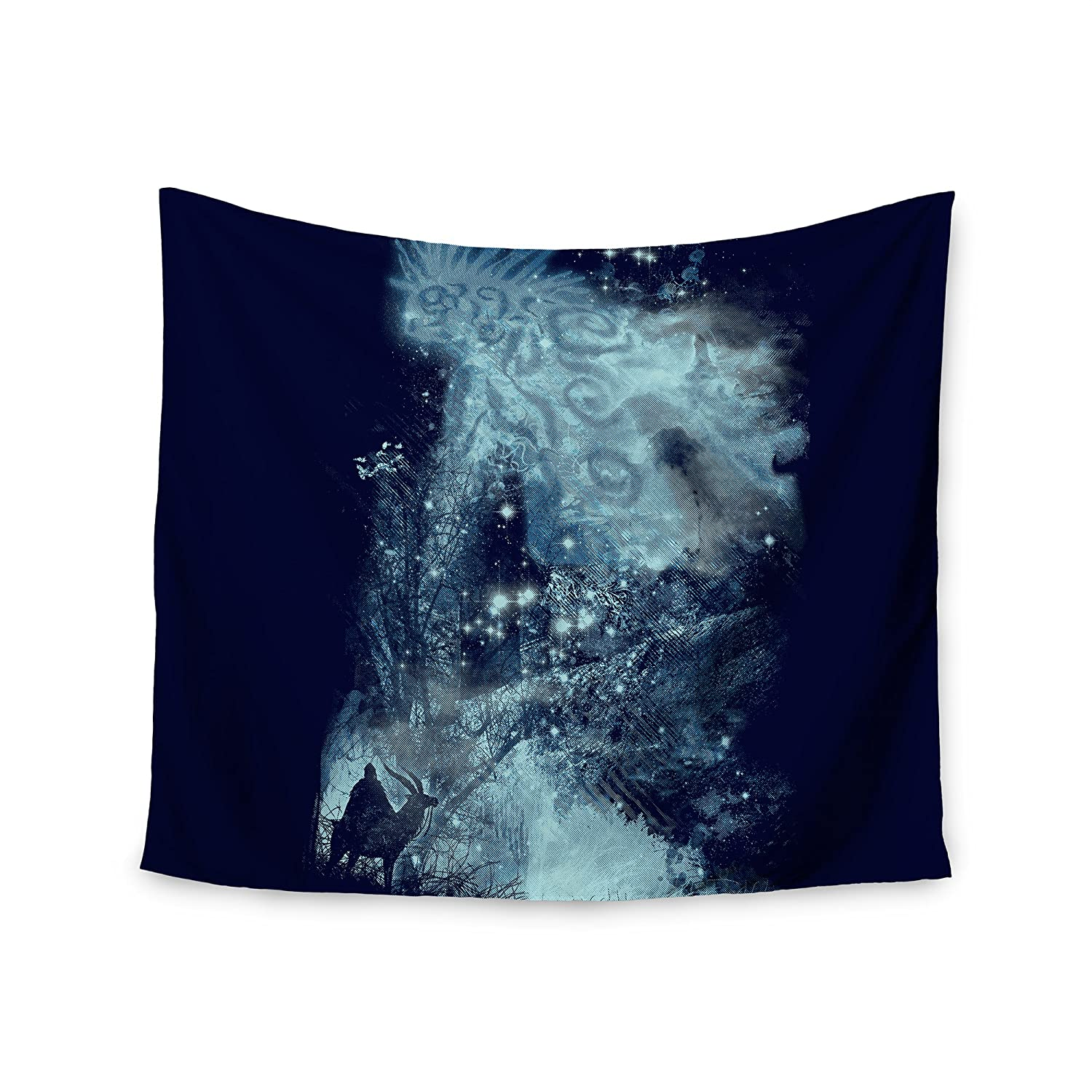 51 x 60 Kess InHouse Frederic Levy-Hadida Forest Spirit Rising Blue Fantasy Wall Tapestry