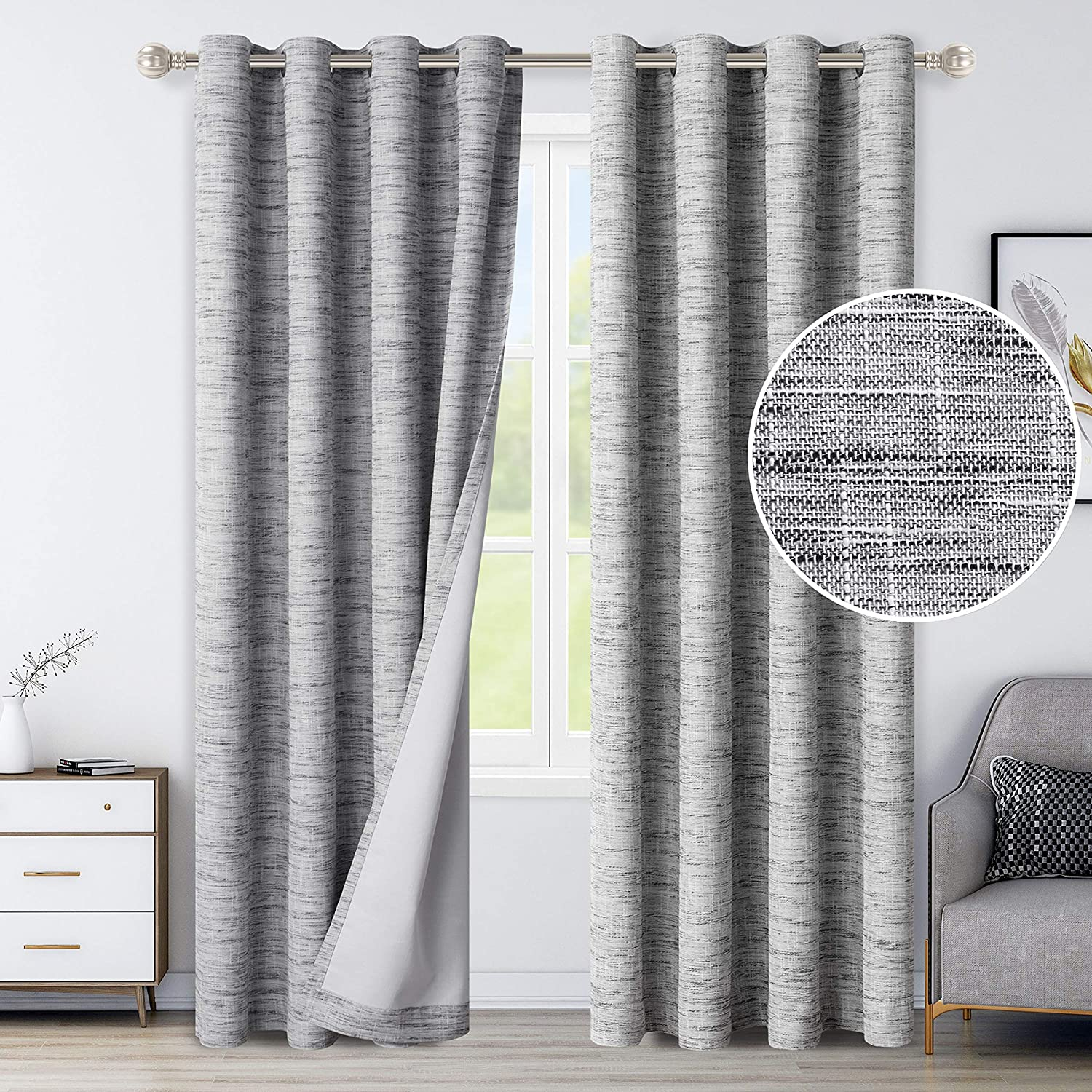 LORDTEX 100% Blackout Curtains for Bedroom - Textured Primitive Linen Look Heavy Duty Curtains with Thermal-Bond Washable Grommet Top Window Drapes for Living Room, 2 Panels, Grey, 52 x 84 inch