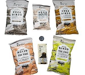 Epic Pork Rinds Variety Pack Plus Bonus Epic Bison Bar and Unique Fridge Magnet