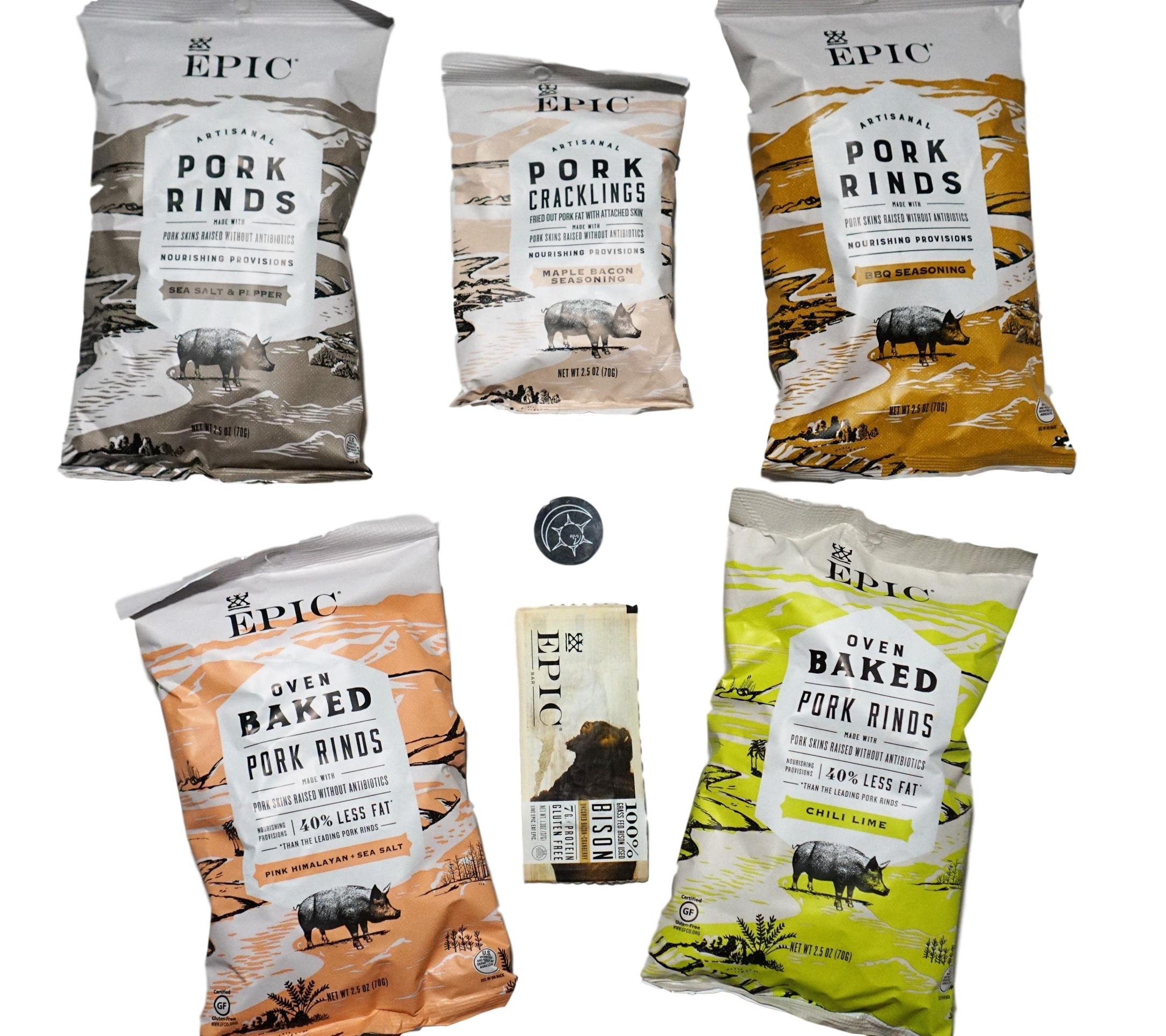 Epic Pork Rinds Variety Pack Plus Bonus Epic Bison Bar and Unique Fridge Magnet by Epic Provisions (Image #1)
