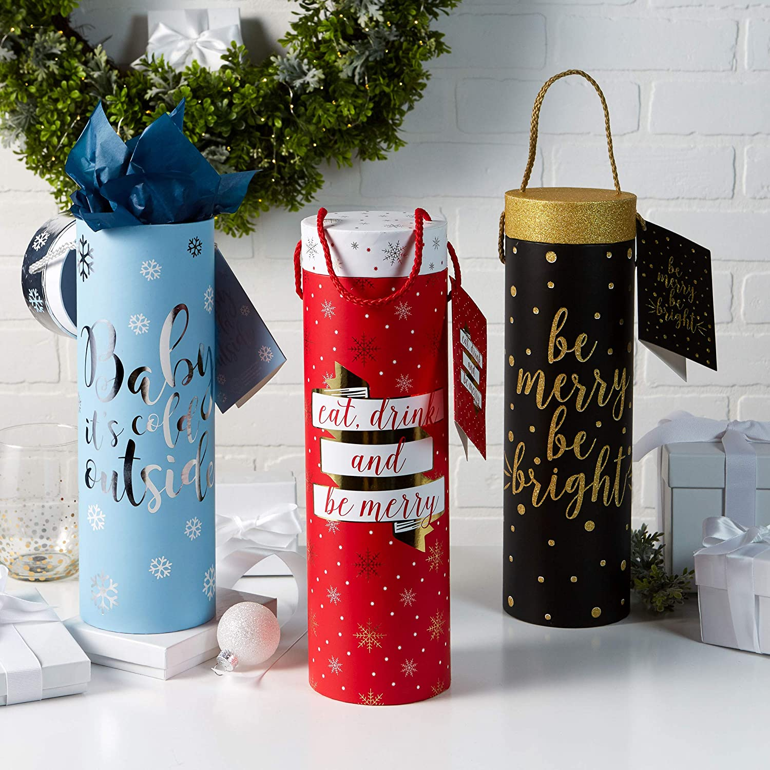 Paper Wine Bottle Gift Bags: Tri-Coastal Design Reusable Christmas Present Bag with Handles and Gift Tag