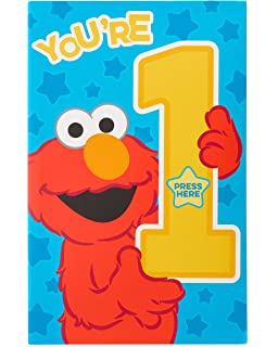 Amazon elmo sesame street happy first birthday greeting card american greetings elmo 1st birthday card for boy with sound m4hsunfo
