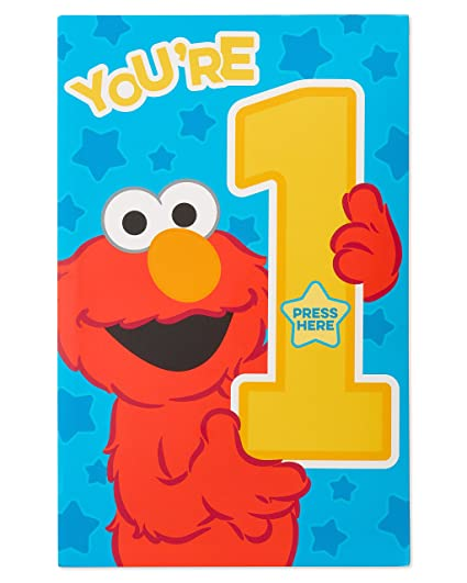 Amazon American Greetings Elmo 1st Birthday Card For Boy With