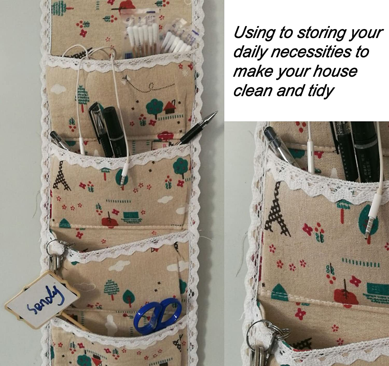 Ceeyali Cotton Fabric Wall Door Closet Hanging Storage Bag Organizer 1 Column 5 Pockets