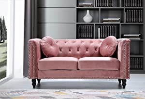 """US Pride Furniture Whetzel Chesterfield 64"""" Rolled Arms Loveseat Love Seats, Rose"""