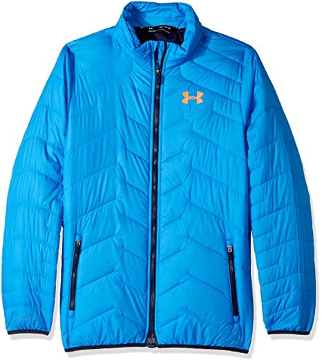 finest selection ca86d c4bf3 Under Armour Outerwear Youth Boys Cold Gear Reactor Jacket, Mako Blue Magma  Orange,