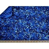 "LA Linen™ Royal Blue 60"" Wide Premium Satin Rosette Ribbon Fabric By the Yard"