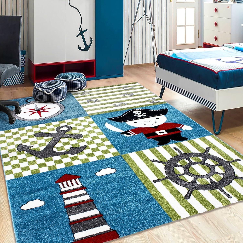 Kinderzimmer-Teppich in Piraten Design, Palme, Schiff, Schatzkarte ...