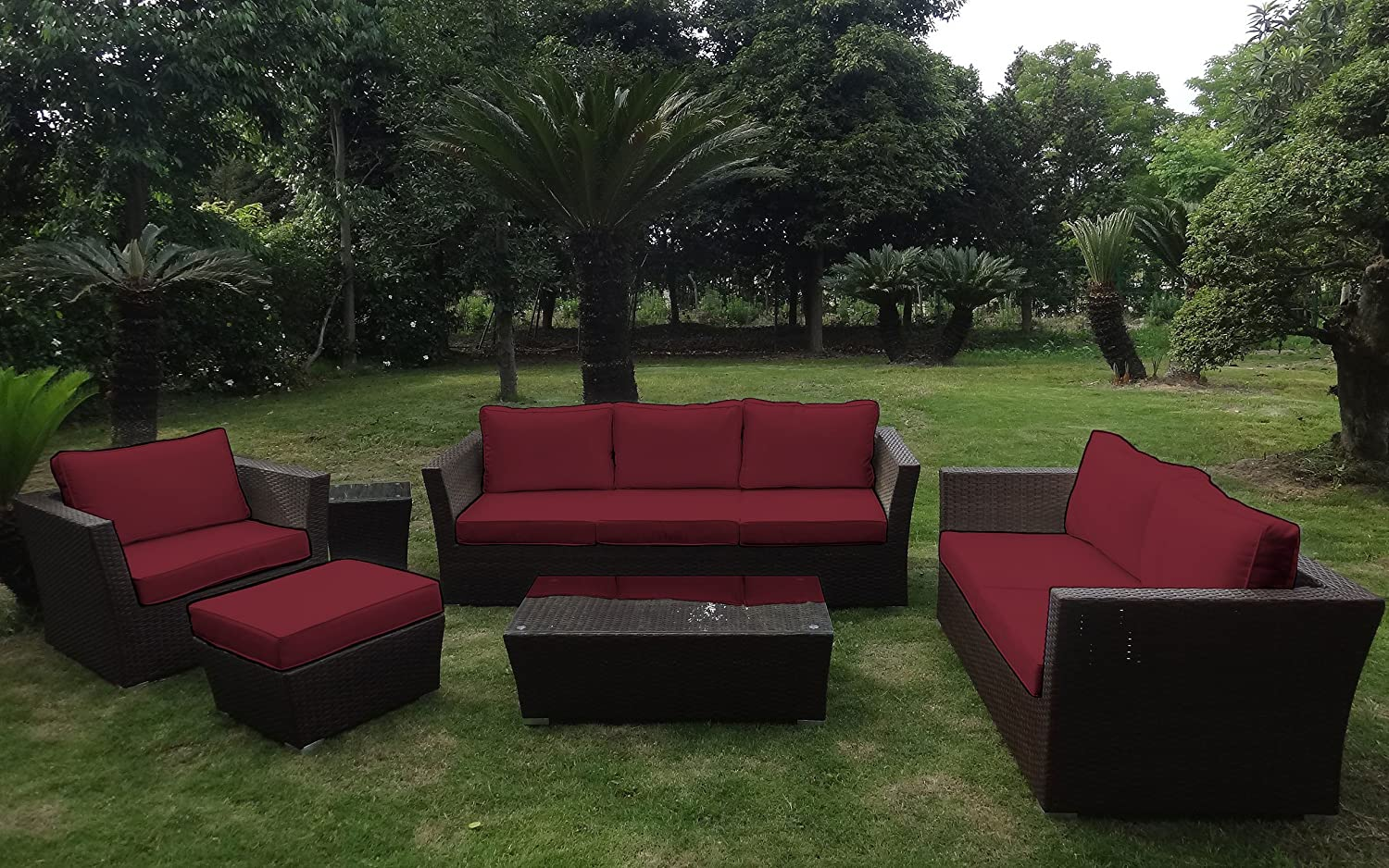 baidani rattan garten lounge treasure braun meliert rot g nstig kaufen. Black Bedroom Furniture Sets. Home Design Ideas