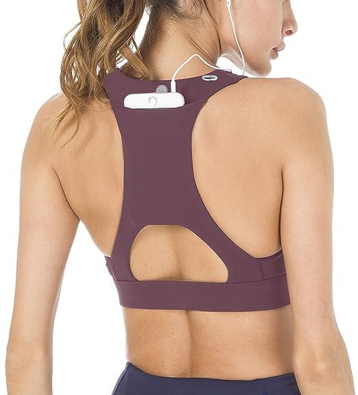 afb361fcc5 Queenie Ke Women s Medium Support Strappy Back Energy Sport Bra Cotton Feel  Size XS Color Dark