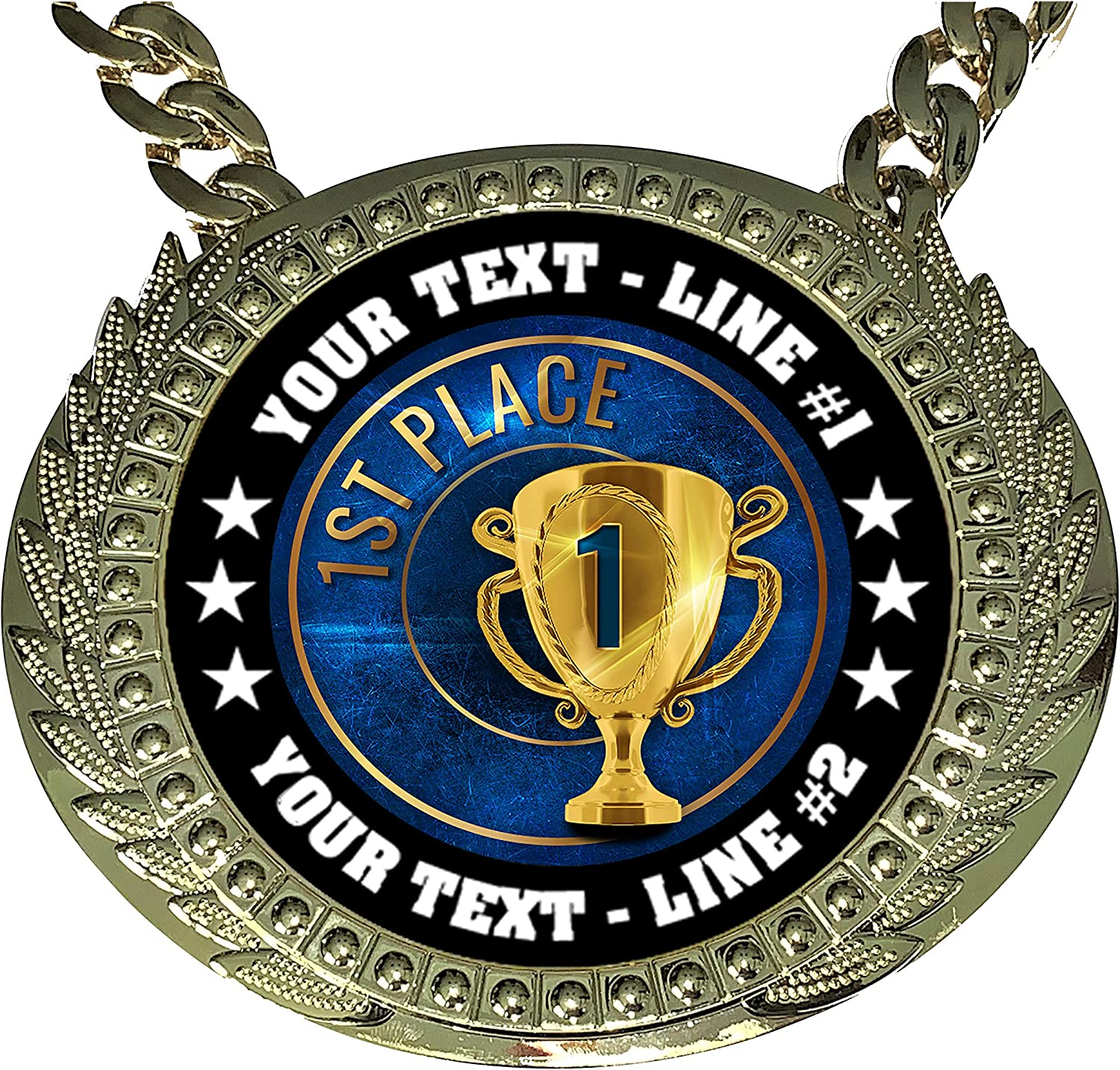 Express Medals Custom 1st Place Champ Chain Trophy with 2 Lines of Personalized Text on a Large Rigid Plastic Award Medal and 34 Inch Long Gold Color Neck Chain EG1