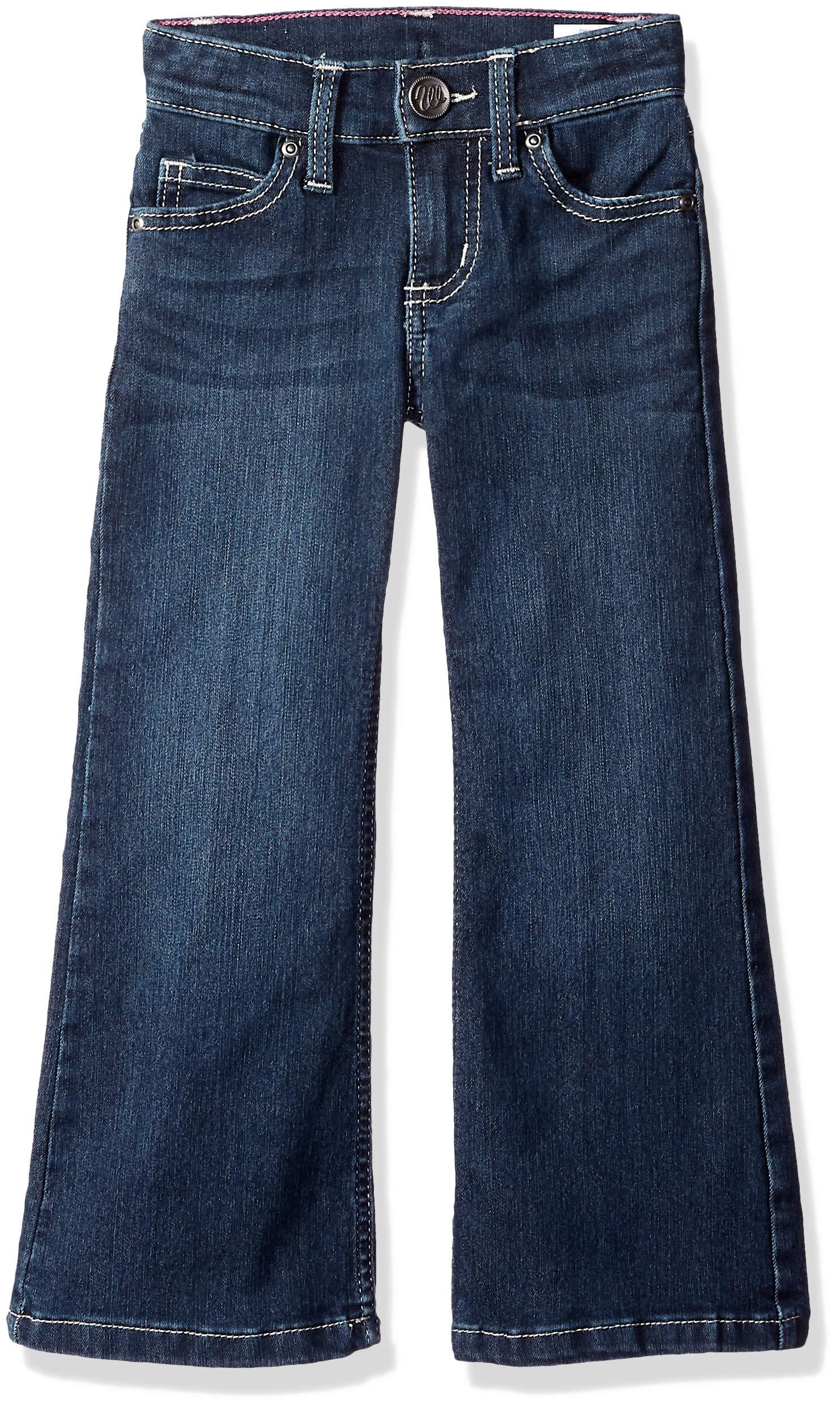 Wrangler Girls' Big Retro Stretch Boot Cut Jean, Dark Blue, 8 Slim