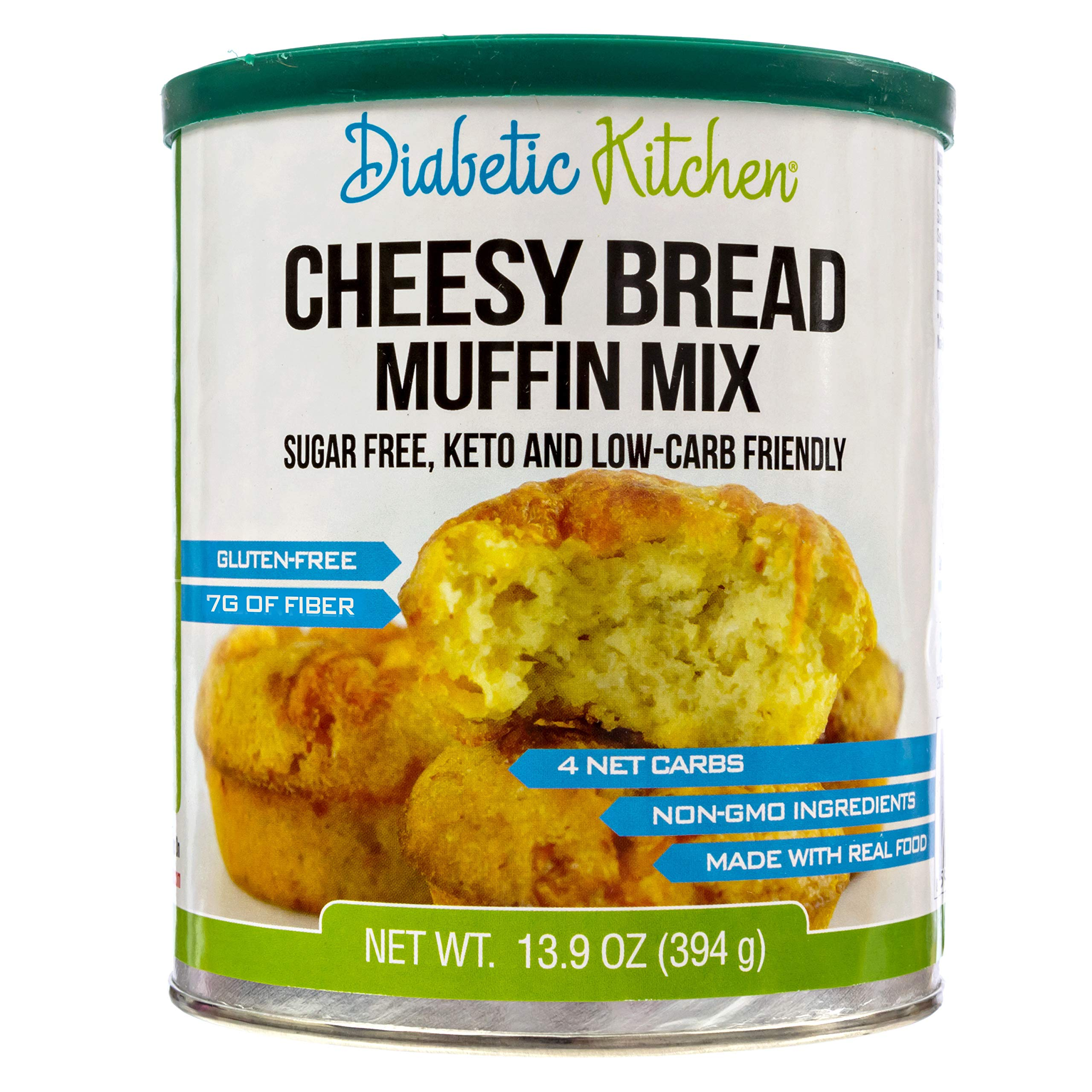 Diabetic Kitchen Cheesy Bread Muffin Mix Puts Bread Back On Your Menu, Low-Carb, Keto-Friendly, Sugar-Free, Gluten-Free, 7g Fiber, Non-GMO (24 Servings) by Diabetic Kitchen